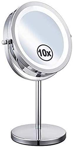 L&B-MR Espejos de la vanidad, LED de la mesa de 10 veces de aumento de la luz redonda de la mesa del espejo del maquillaje del metal del espejo de