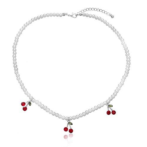 COSYOO Mujeres Collar Colgante Moda Collar Con Colgante De Cereza Con Perlas Falsas Collar De Encanto Para Mujeres Y Damas