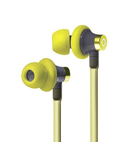 Aircom A3 Active Stereo Kopfhörer – Anti-Strahlung Draht Sport Earbuds mit Airflow Audio Technologie – Freisprech-Kopfhörer mit integriertem Mikrofon gelb