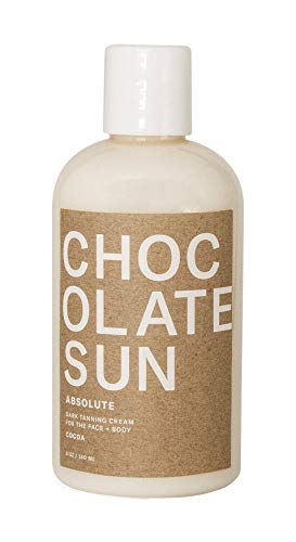 Chocolate Sun - Organic Absolute Dark Tanning Cream Face & Body (Dark Skin Tones, 8 oz)   Clean, Non-Toxic Sunless Tanning