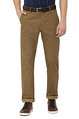 Allen Solly Men's Relaxed Fit Casual Trousers (ASTFGCFPX59920_Khaki_34)