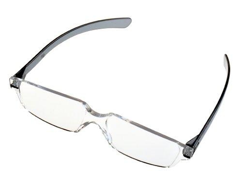 全教図 老眼鏡 +2.5 度数 縁なし ど忘れ シニアグラス スモーク
