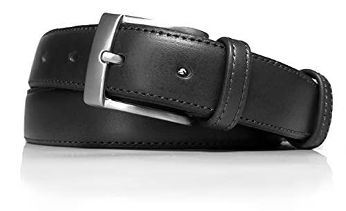 almela - Cinturón de hombre - Piel vaquetilla - Marrón - 3 cm de ancho - Cuero - Caballero Clásico, traje, formal, vestir - 30mm (Negro, 105)