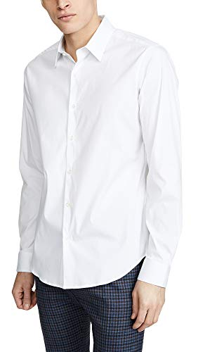 Theory Men's Sylvain Long Sleeve Button Down Shirt, White, Medium