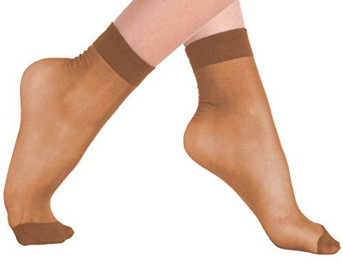 VCA-Lotto di 10, 15o 20paia di calzini con bordo comfort,20denari,colore: nero/carne beige make up, 10 Paire