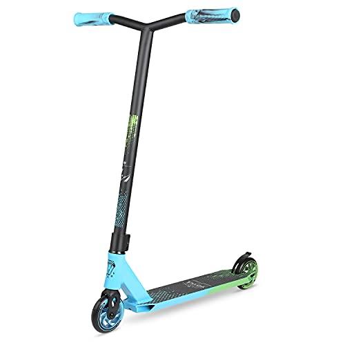 VOKUL Pro Stuntscooter BZIT K1- Roller für 7 Jahre und älter - Kinder & Teens & Erwachsene, Stunt Scooter mit 110mm PU Räder Tretroller Freestyle Roller Tricks Geschenk (Neu-Blau& Grün)