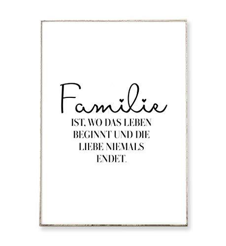 DIN A4 Kunstdruck Poster FAMILIE -ungerahmt- Typografie, Handschrift, Spruch, Bild, Zuhause