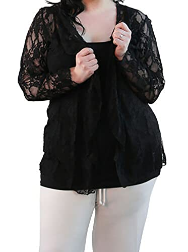 New Womens Plus Size Floral Pattern Lace Cardigan Long Sleeve Womens Waterfall Open Top Black Size 18