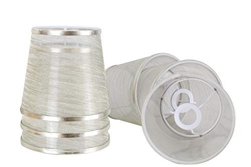 DULEE Set of 6 Superiore 4.5 x Altezza 5.5 x Inferiore 6 inches Transparent E14 Holder Ring Clip On Paralumi Candela Paralumi Tessuto Piccolo Paralume