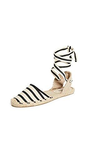 Soludos – Women's Classic Espadrille Sandal, Black Natural Stripe, 5.5