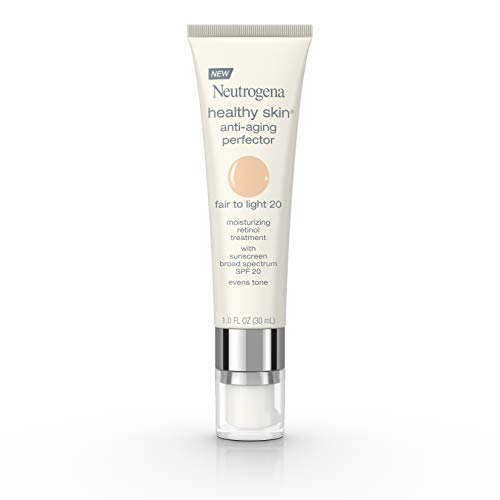 Neutrogena Healthy Skin Anti-Aging Perfector Tinted Facial Moisturizer and Retinol Treatment with Broad Spectrum SPF 20 Sunscreen with Titanium Dioxide, 20 Fair to Light, 1 fl. oz