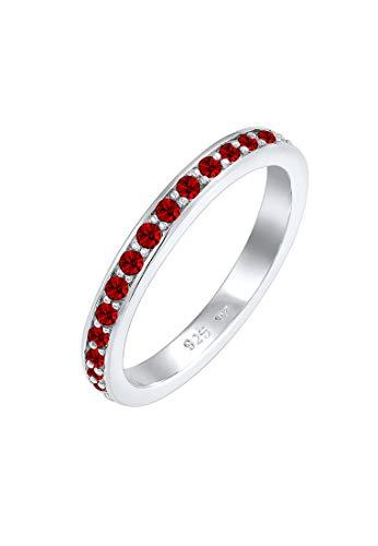 Elli Ring Damen Bandring mit Swarovski Kristallen in 925 Sterling Silber