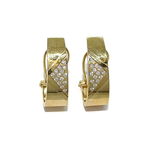 Pendientes oro amarillo brillo de 18k para mujer con circonitas y cierre omega. 1.70cm de altos por 0.60cm de anchos. Peso; 1.85gr de oro de 18k.
