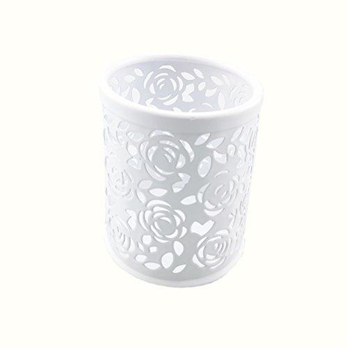 Price comparison product image Yueton Hollow Rose Flower Pattern Metal Pen Pencil Pot Cup Holder Desk Container Organizer (White)