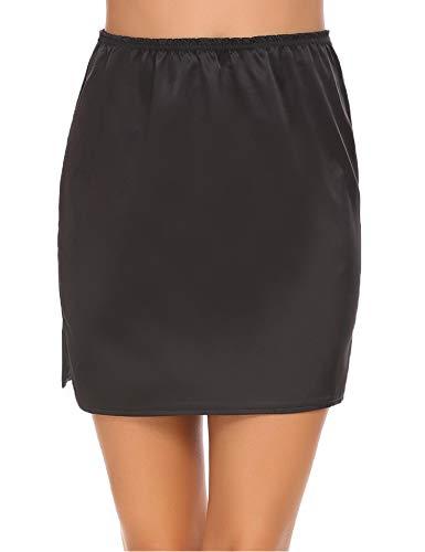 ADOME Damen Rock Unterrock Underskirt Nachtkleid Unterkleid Nachthemd Lingerie Halbrock Unterkleid Einfarbig Vintage Elastische