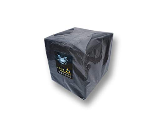 CROCS COCO Oro I Carbón de coco con larga duración I Carbón de barbacoa 26 x 26 mm I Poco cenizas I Baja generación de humo I Carbón natural sostenible I Cubo de carbón en calidad premium I 10 kg