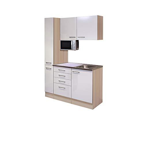 MMR Teeküche DERRY - Unterbau-Mirkowelle - 1 Hängeschrank - 1 Apothekerschrank - Breite 130 cm - 6-teilig - Perlmutt Weiß