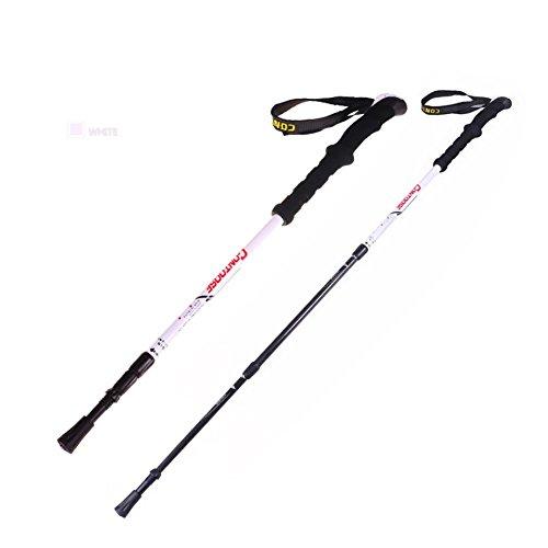 Lmzyan Gilet de randonnée en fibre de carbone extérieur, hauteur réglable 65-135cm Poignée droite Poteaux de marche , Blanc