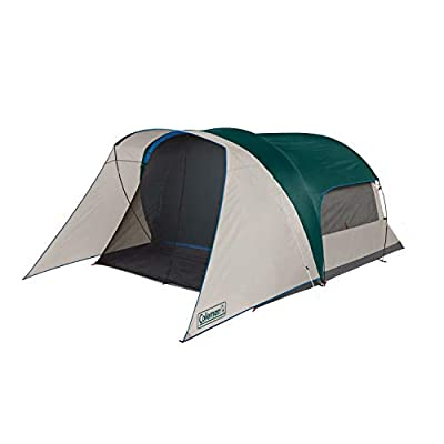 Coleman Cabin Camping Tent with Screen Room | 6 Person Cabin Tent with Screened Porch, Evergreen