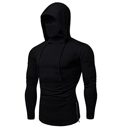 ZYSK New Elastic Fitness Männer mit Kapuze langärmliges T-Shirt Call of Duty Maske Hoodie Gesichtsmaske Radfahren Pullover Oberteil Stehkragen Outwear