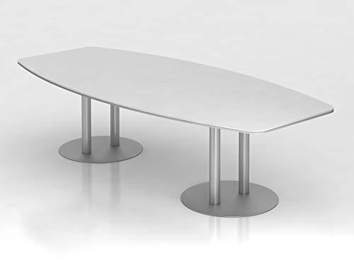 Konferenztisch 280cm Säulenfuß, Weiß/Silber