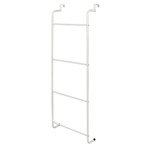 MyGift Space-Saving White Metal Over-The-Door Towel Rack/Clothing Hanger