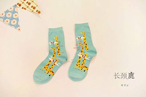 Novelty Sokken,3 Paar Lente En Zomer Vrije Sport Groene Giraffe Patroon Katoen Ademende Comfortabele Buis Sokken Eenvoudige Mannen En Vrouwen Paar Trend Katoenen Sokken Gepersonaliseerde Kleding Accessor