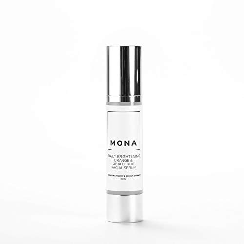 Mona Living Vegan Daily Brightening Facial Serum with Organic Orange, Grapefruit, Vitamin C and Vitamin A for Hydrating Skin -PARABEN FREE-CRUELTY FREE-50ML