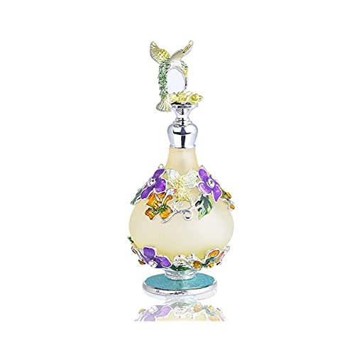 ZLSP Bouteille de Parfum doré, Bouteille d'huile Essentielle Vintage, Bouteille Peinte, Bouteille de Parfum, Bouteille en Verre de Couleur, Voyages Pratique 25ml