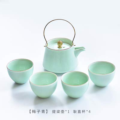 LLDKA keramische theeschaal 2019 keramische theepot draak greep hittebestendige theepot water Jar, Green1 + 4 cups