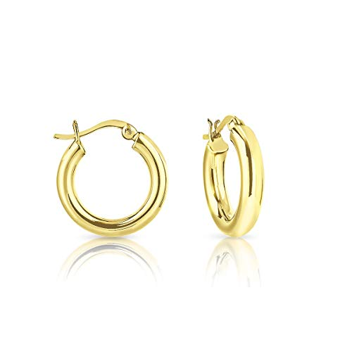 DTPSilver - 925 Sterling Silver Yellow Gold Plated Creole Hoops Earrings - Thickness 4 mm - Diameter 20 mm