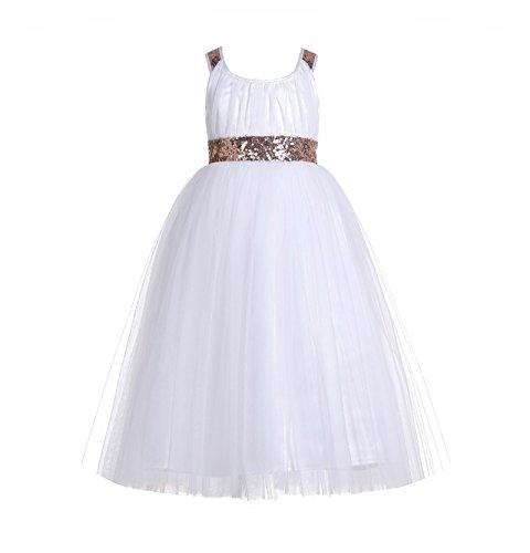 ekidsbridal Sweetheart Neckline Cross Straps A-Line Toddler Flower Girl Dresses 173 10 Rose Gold/White