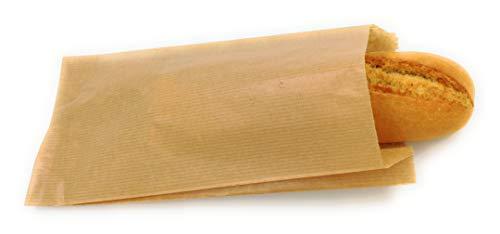 Bolsas papel kraft marrón para bocadillo o pastelería 14+7x27 cm (250 uds)