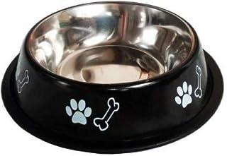 Naaz Pet Supplies Bone/Paw Stainless Steel Dog Bowl (XL, 1500ml, Black)