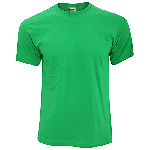 Fruit of the Loom - Camiseta Básica de Manga Corta de Calidad diseño Original Hombre Caballero (Grande (L)) (Verde)