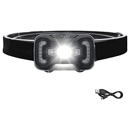 XTZJ Linterna de faro LED 270 Lumen Super brillante Sensor de movimiento Sensor Lámpara de cabeza IPX5 Impermeable A prueba de agua Luces de cabeza recargables 5 Modos Faro Frente Luz para acampar cor