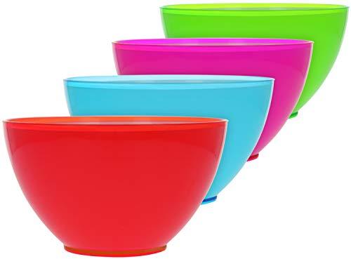 com-four® 4x Müslischalen-Set aus Kunststoff - Design Müsli-Schüssel, Schale für Dessert, Snacks oder Eis bis zu einer Füllmenge von 700 ml (4 Stück - blau. grün. lila. rot)