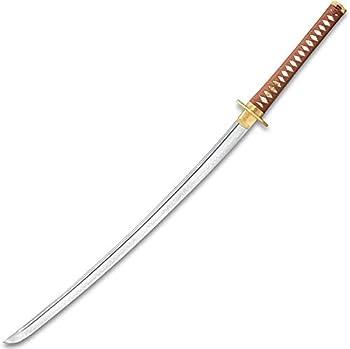 Sokojikara Golden Crane Katana and Scabbard - T10 Clay Tempered Steel Blade Genuine White Rayskin All Brass Fittings - Length 40