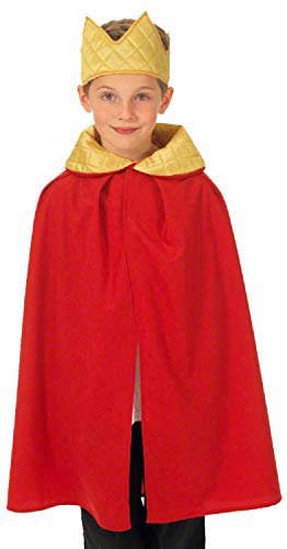Childrens Boys Girls Royal King Queen Cape & Crown Red Gold Historical Nativity Fancy Dress Costume Outfit 3-9 Years