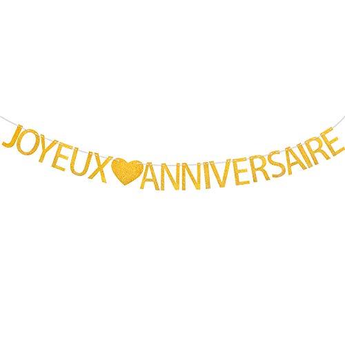 VINFUTUR Joyeux Anniversaire Bannière Banderole Glitter Or Guirlande Happy Birthday Banner Décorations de Fête d'Anniversaires Party pour Filles Garçons Adultes