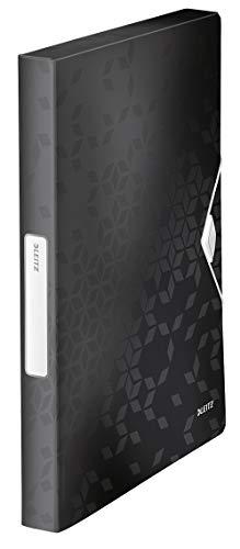 Leitz WOW Ablagebox für bis zu 250 Blatt, A4, Gummizugverschluss, Kunststoff, Schwarz, WOW, 46290095