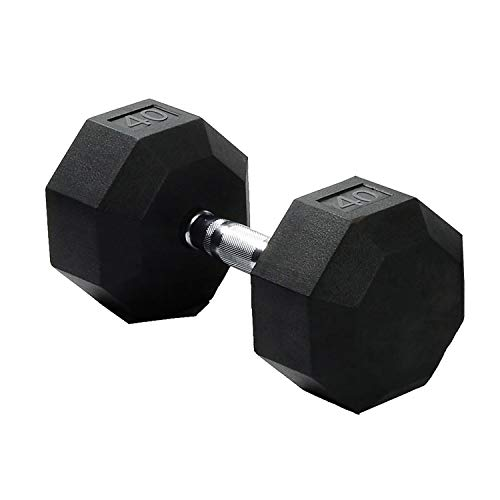 SPRI Dumbbells Deluxe Rubber Coated Hand Weights All-Purpose Color Coded Dumbbell for Strength Training (40-Pound) - Sold as a Single Dumbbell