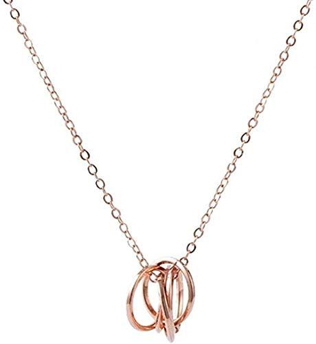 banbeitaotao Collar Elegante Collar Colgante de Cinco círculos Collar de Cinco Anillos joyería de Fiesta de Aniversario de Boda para Mujer