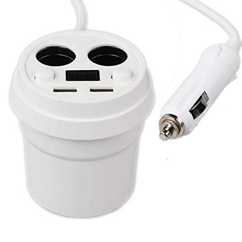 PolarLander 3.1A Dual USB Car Charger Cup Tension de Charge Affichage Actuel Chargeur de téléphone avec Prise Allume-Cigare pour GPS DVR Charge Blanc