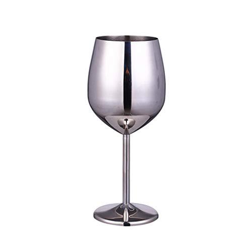 Fenteer Copas de Vino, Copas de Vino Tinto, Taza de Cristal para decoración de Fiesta de Boda, Copa de Vino de Acero Inoxidable, Plata, Oro Rosa, Regalo de - 500ml de Plata