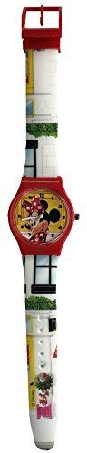 Reloj analógico de Minnie Mouse con caja roja y correa blanca