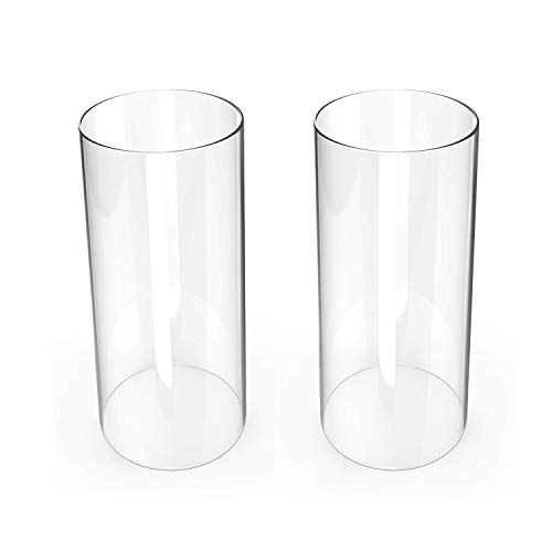 TLLAMP Hurricane Candleholders, Clear Candle Holder, Glass Chimney for Candle Open Ended (2 Packs) (Diameter 2.5 IN, Height 6 IN)