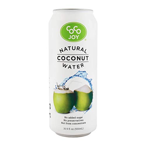CoCo Joy Natural Coconut Water, 100% Coconut Water, Fresh, Low-Calorie, High-Calcium, Nutrient-Rich Coconut-Water Drink with Electrolytes, Potassium, and Other Nutrients 16.9oz 12pack