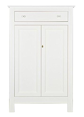 PEGANE Armoire Enfant avec 2 Portes, en pin Massif Finition Blanc - Dim : H 150 x L 93 x P 40 cm