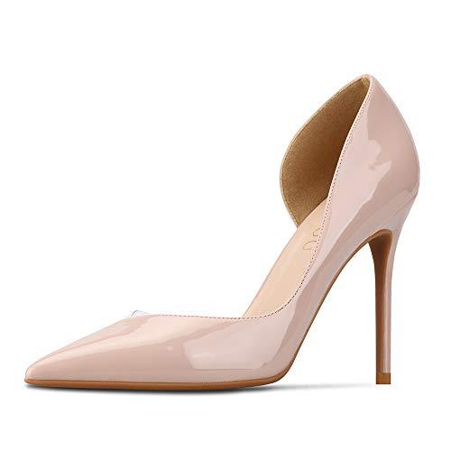 GOXEOU Mujer Zapatos de corte transparente empalme charol punta puntiaguda tacón de...